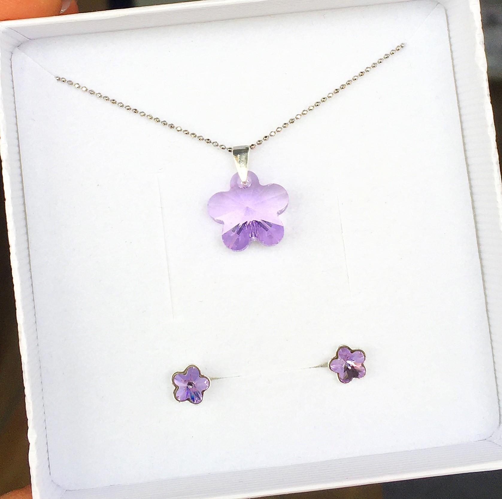 Комплект колие и обици - Violet Flowers