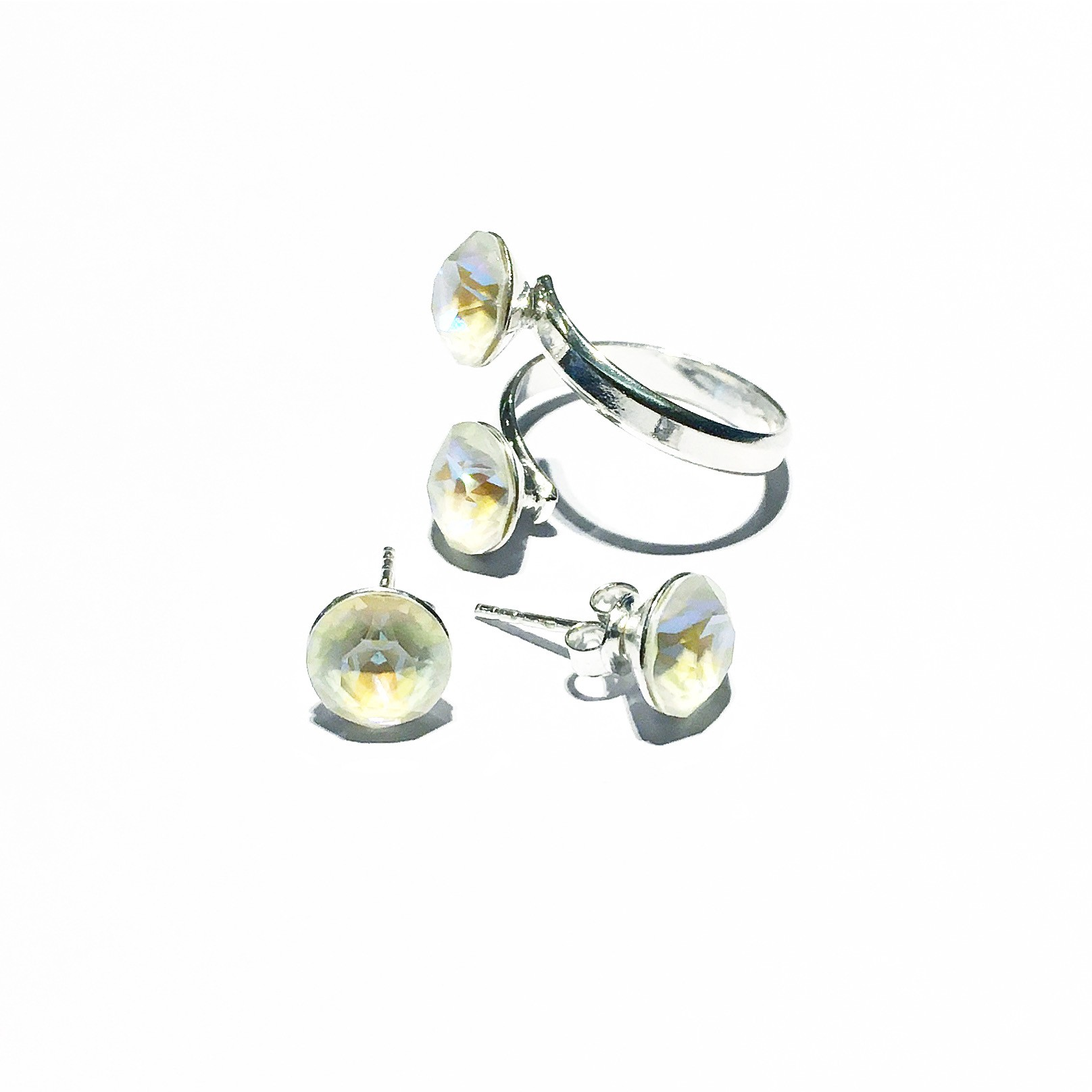 Комплект обици и пръстен - Opal Shine
