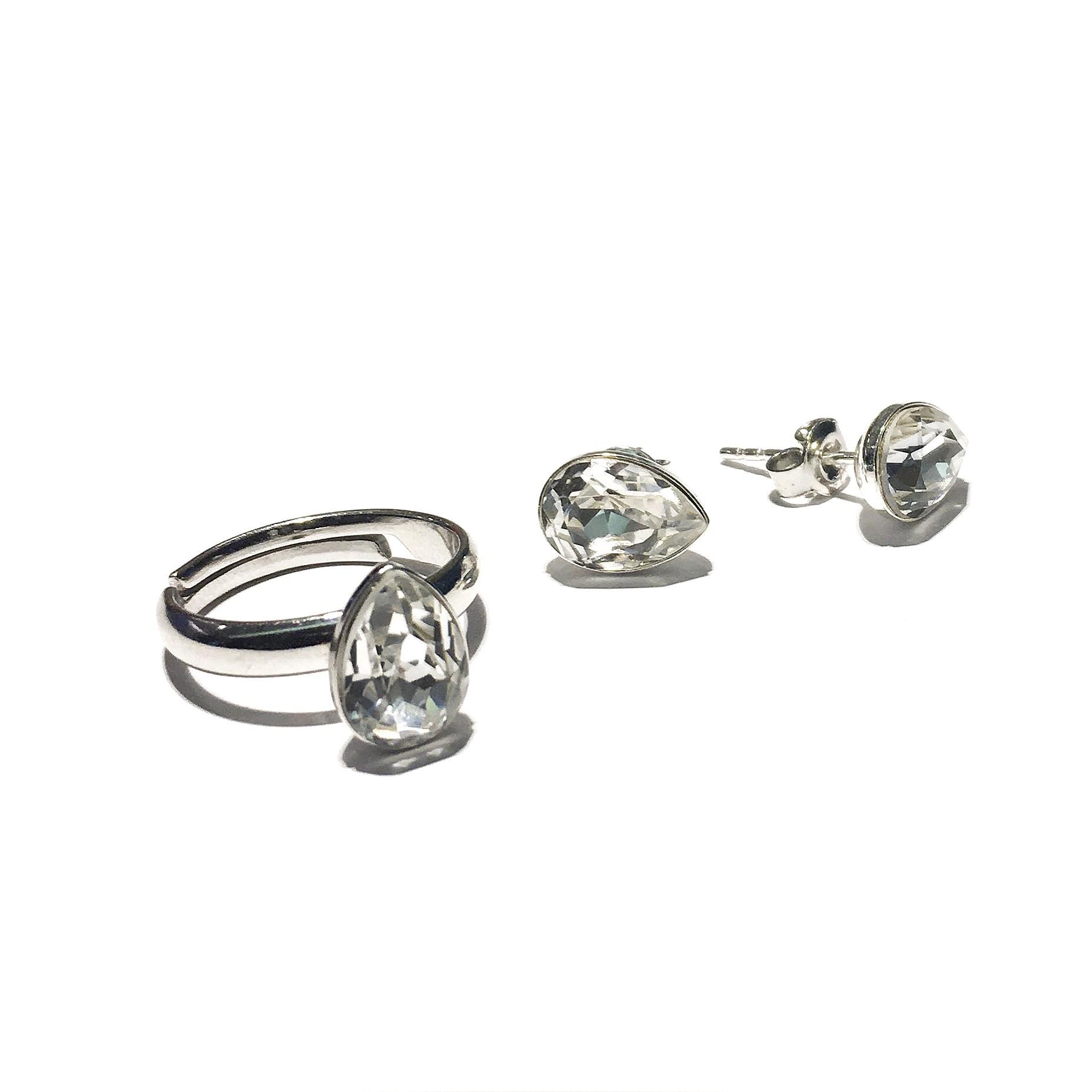 Сет пръстен и обици - Crystal Drops