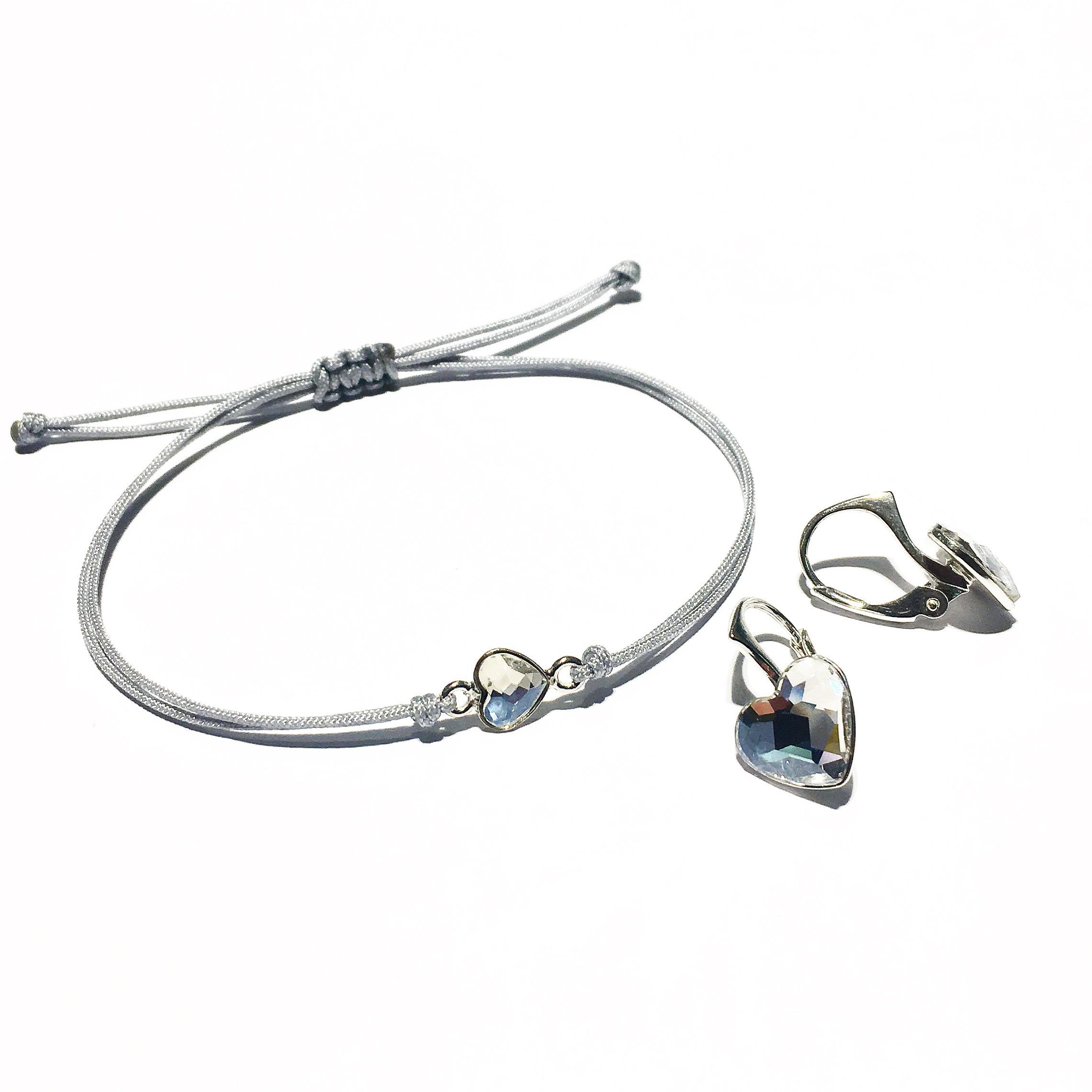 Комплект гривна и обици - Silver Hearts