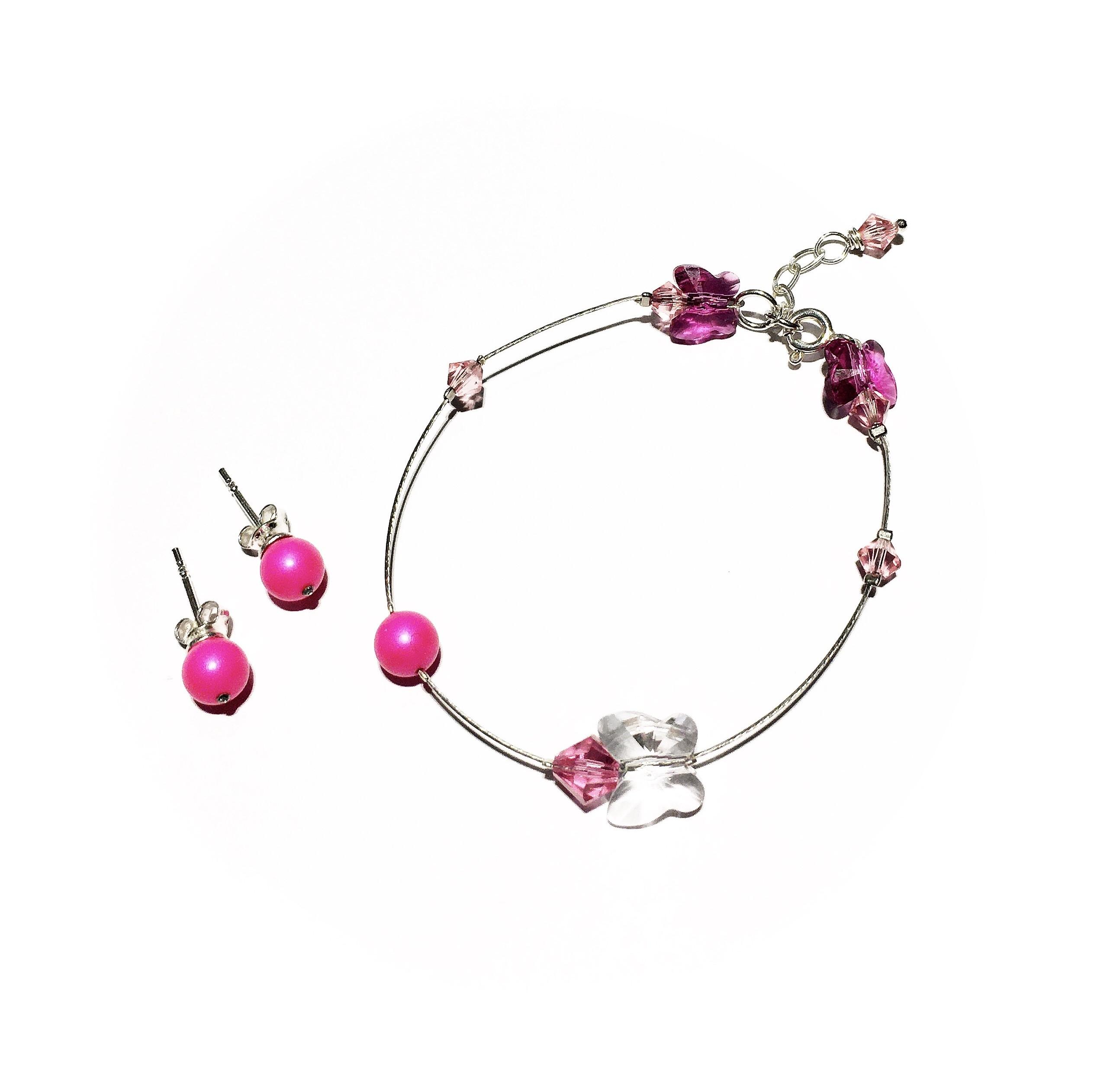 Комплект гривна и обици - Neon Pink