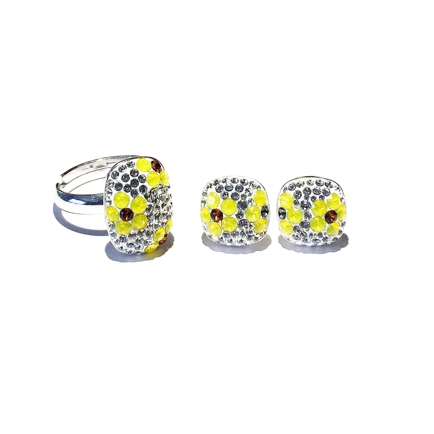 Комплект пръстен и обици - Crystal Flowers