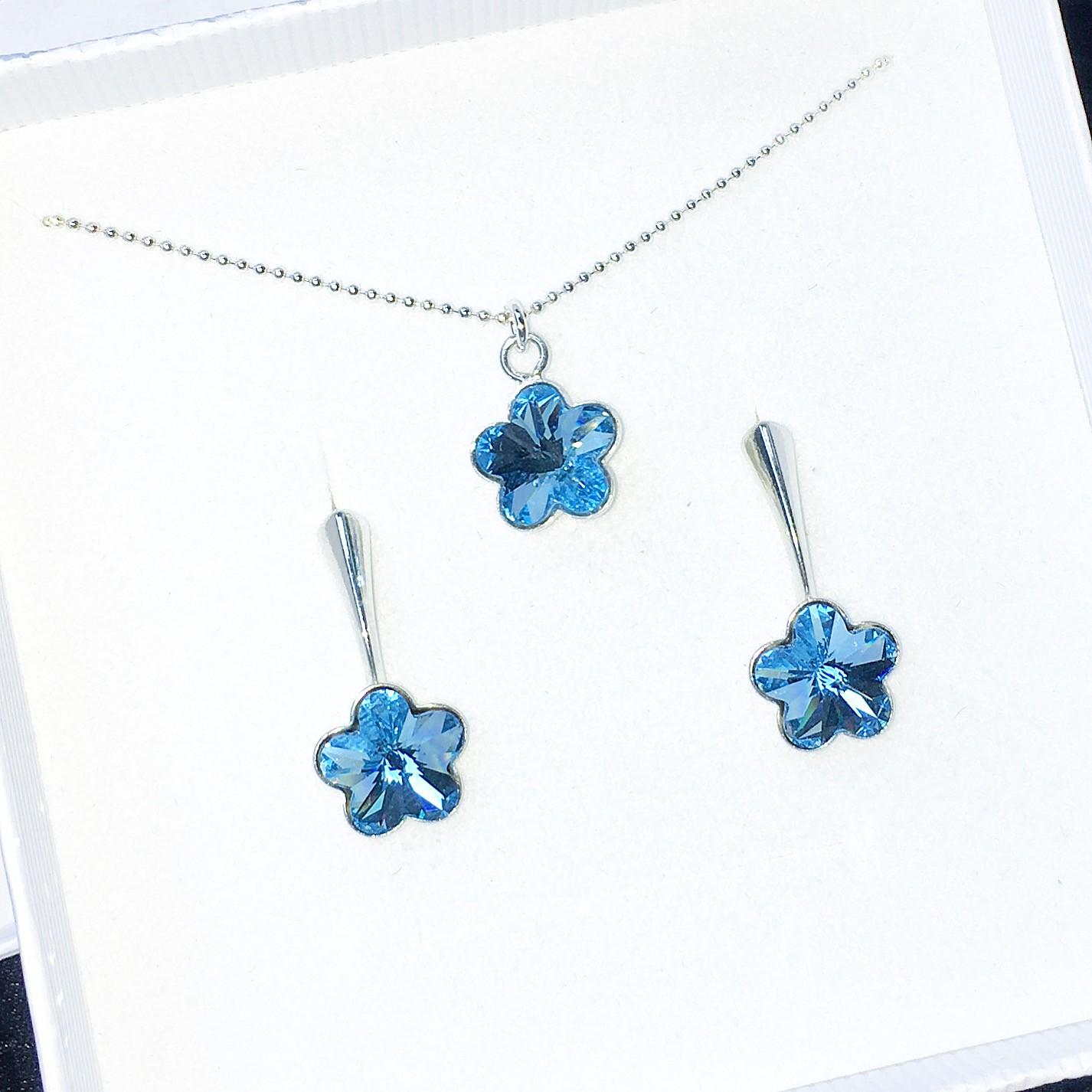 Комплект колие и обици - Blue Flowers