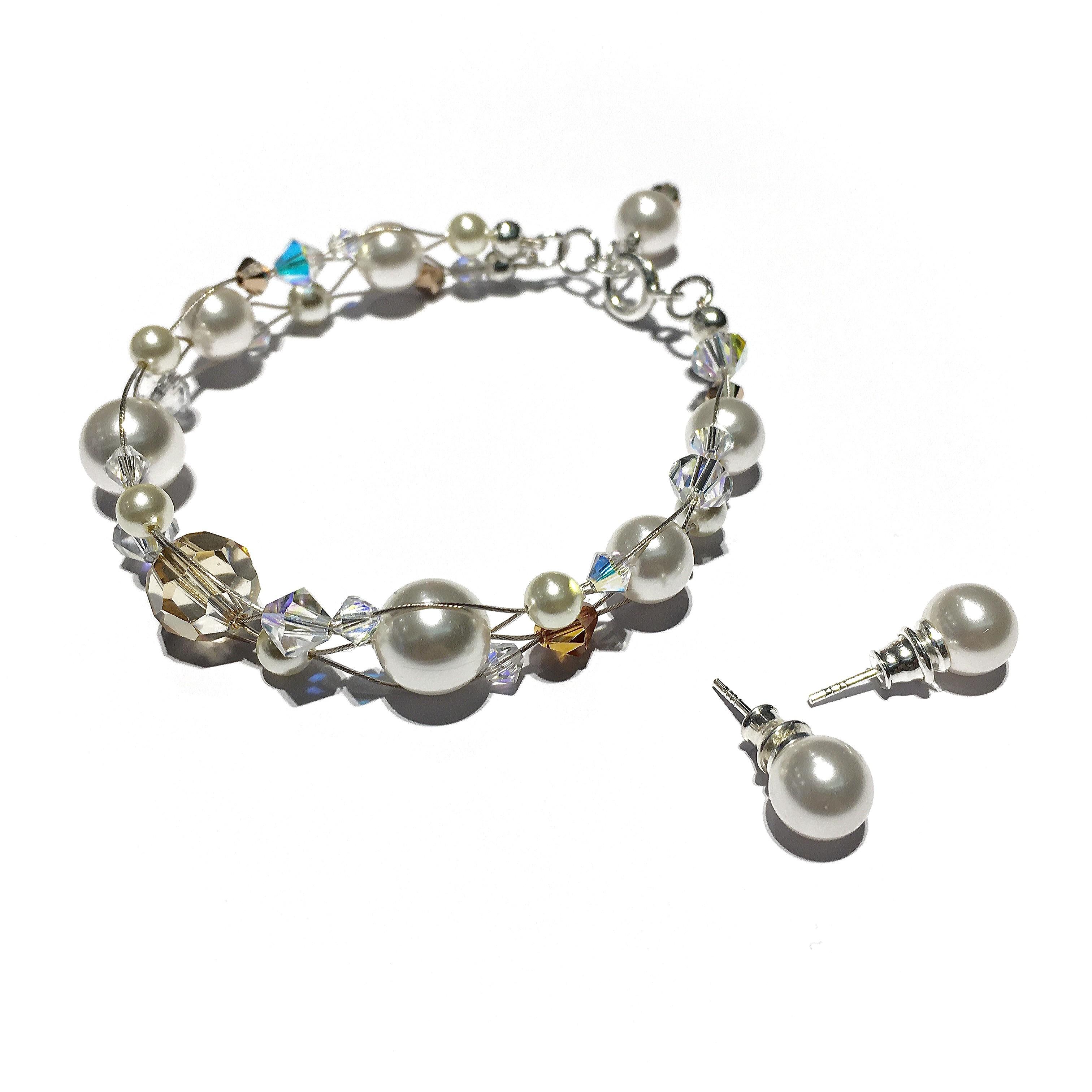 Сет гривна и обици - Cream Pearls