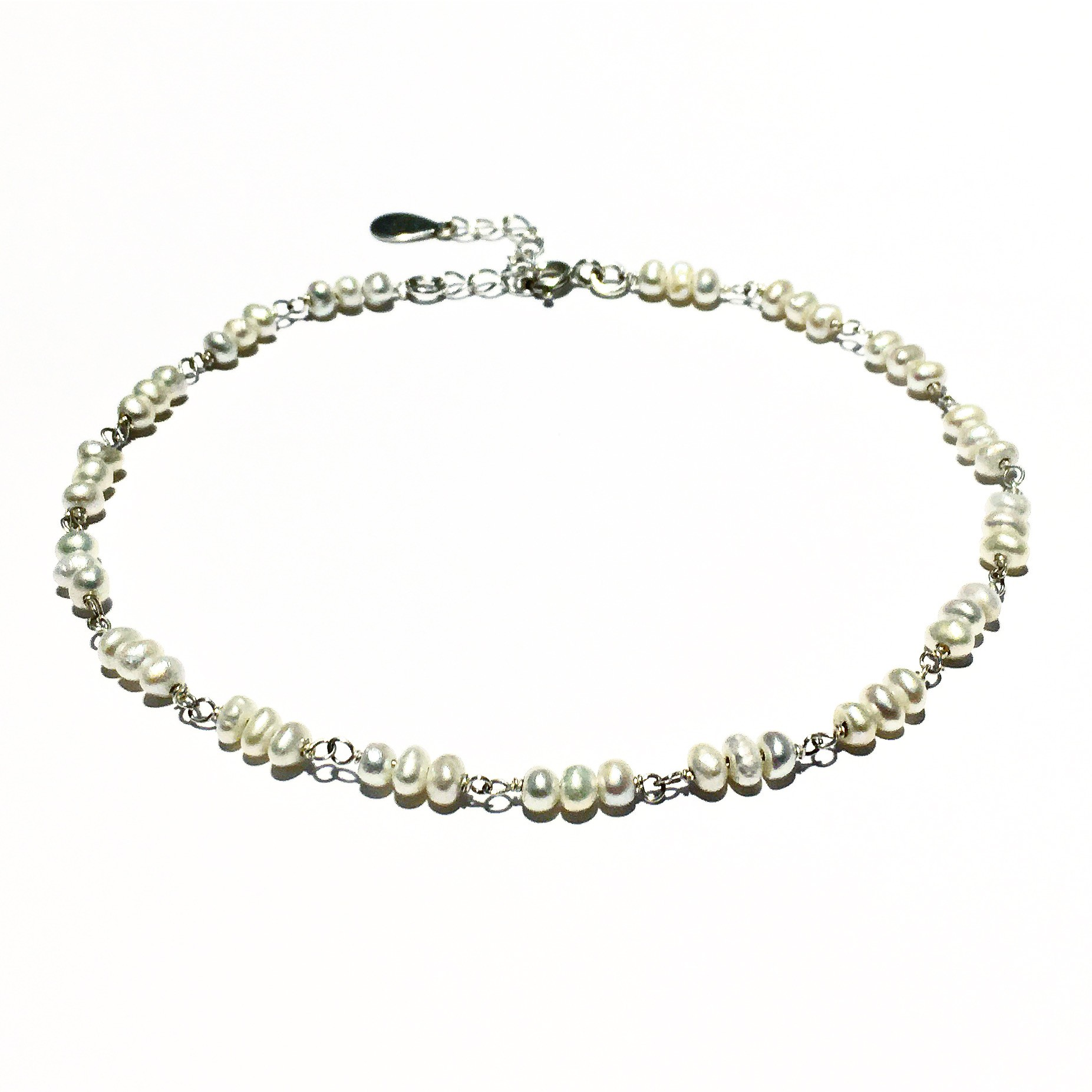 Гривна за глезен - White Pearls