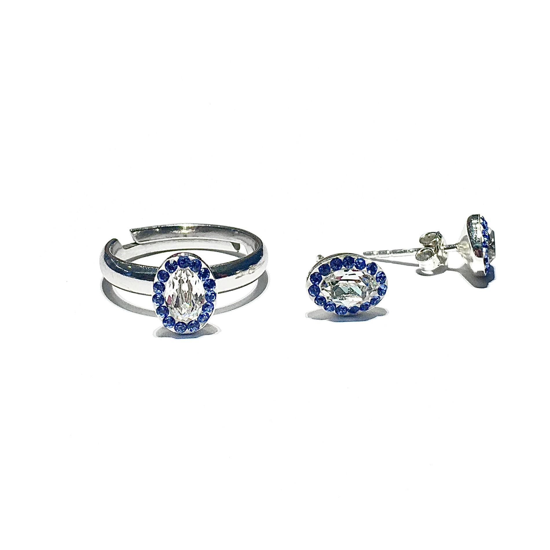 Сет пръстен и обици - Blue Fantasy