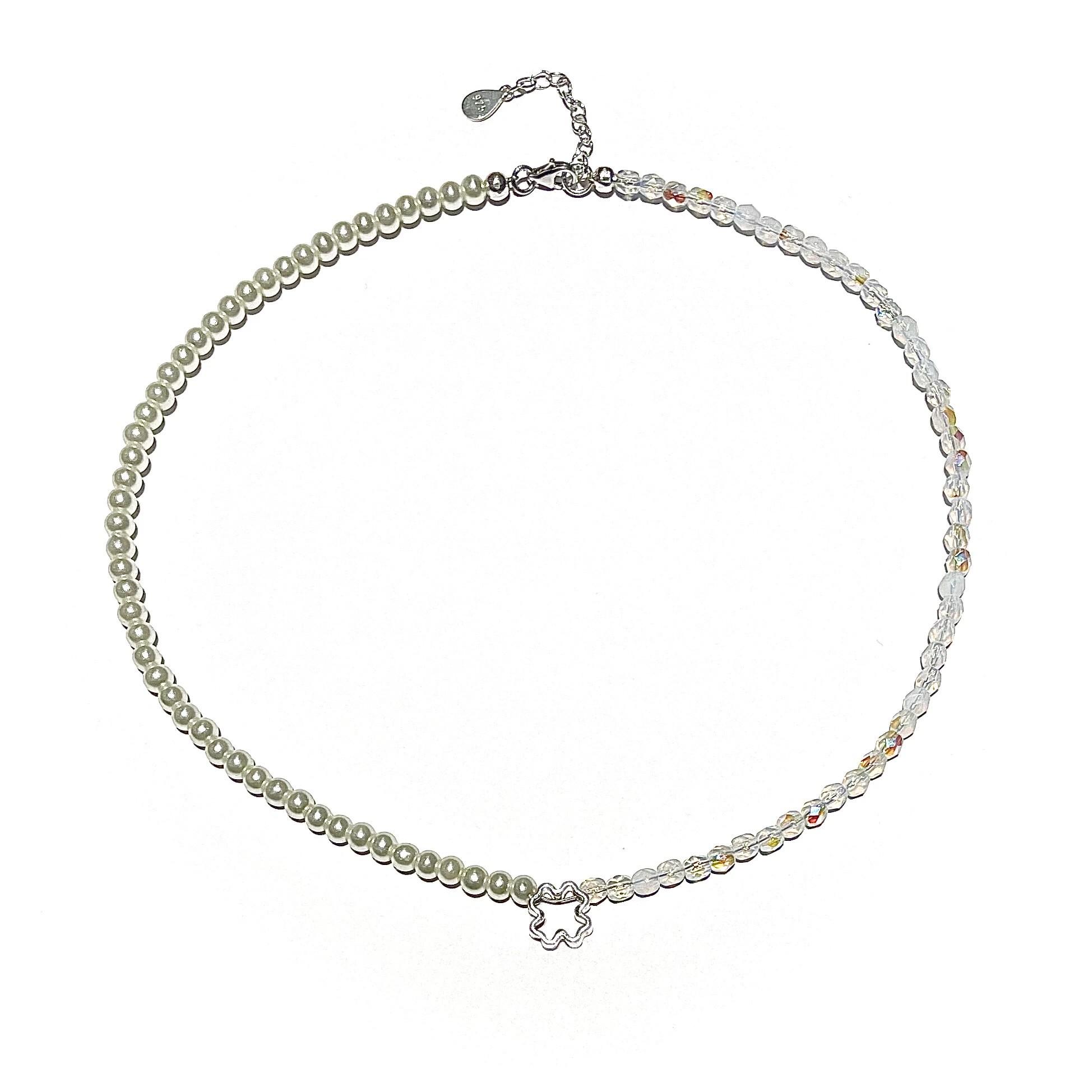 Колие чокър - Silver Clover