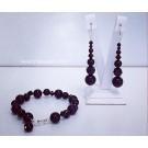 Комплект гривна и обици - Swarovski Black Pearls&Crystals