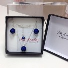 Комплект колие и обици - Swarovski Blue Pearls