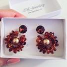Обици - Swarovski Silver Amber