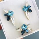 Комплект обици и пръстен - Swarovski Blue Queen