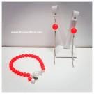 Комплект гривна и обици - Swarovski Neon Red