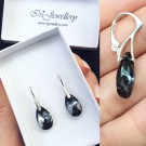 Обици - Swarovski Black Drops