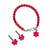 Комплект гривна и обици - Red Snowflakes