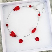 Комплект гривна и обици - Red Butterflies